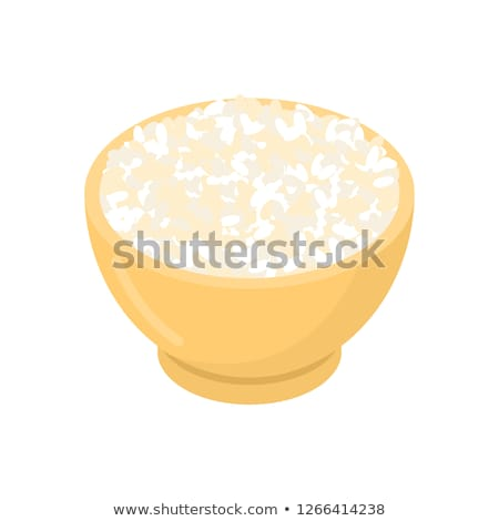Round rice in wooden bowl isolated. Groats in wood dish. Grain o Stock photo © MaryValery