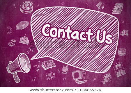 contact us   doodle illustration on purple chalkboard stock photo © tashatuvango