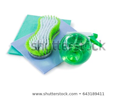 High angle view of brush and spray bottle with wipe pad Stock photo © wavebreak_media