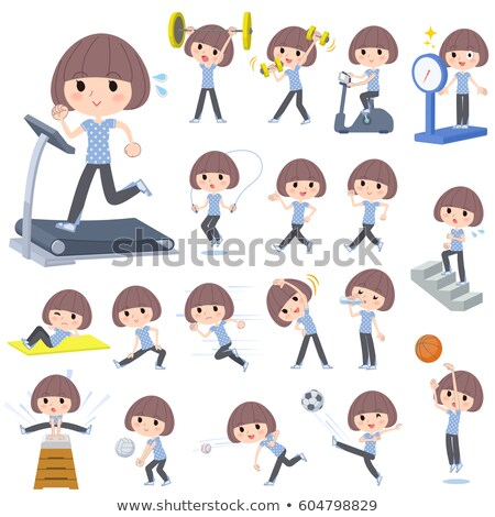 mash hair blue wear woman sports exercise stock photo © toyotoyo