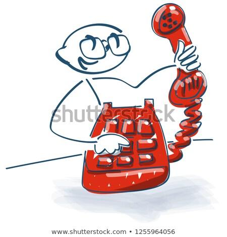 Pálcikaember öreg telefon telefonkagyló kéz telefon Stock fotó © Ustofre9