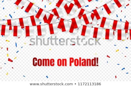 ポーランド 花輪 フラグ 紙吹雪 透明な お祝い ストックフォト © olehsvetiukha