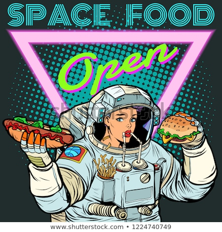 Space food. Woman astronaut eats. Cola, hot dog and Burger. Stock photo © studiostoks