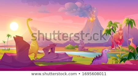 Jelenet dinoszauruszok folyó illusztráció tájkép háttér Stock fotó © colematt