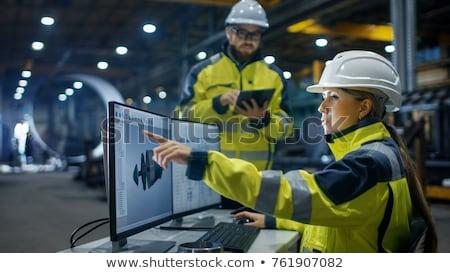 Mannelijke vrouwelijke ingenieur blauwdruk illustratie achtergrond Stockfoto © colematt