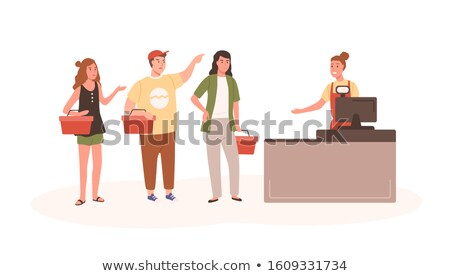 Stock photo: Supermarket Store Cashier Client Customer Vector