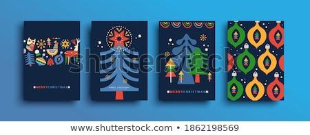 Neşeli Noel poster hayvanlar ayarlamak vektör Stok fotoğraf © robuart