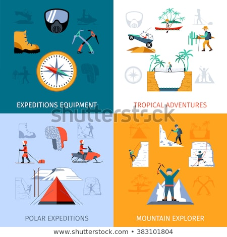 Boy scouts flat concept icons Stock photo © netkov1