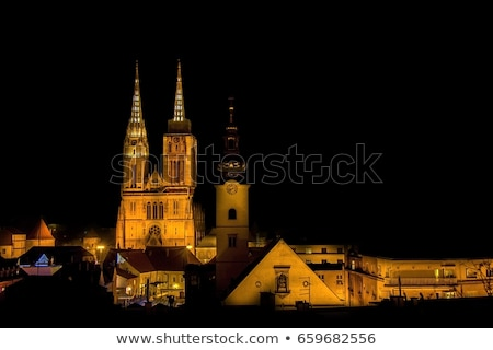 Zagreb cathedral and cityscape evening view Stock photo © xbrchx
