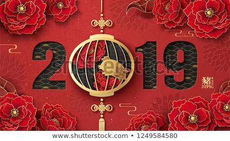 chinese new year 2019 color paper flowers card stock photo © cienpies