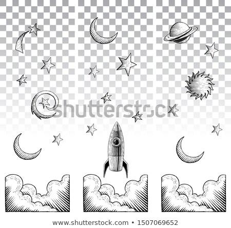 inkt · schets · sterren · witte · stijl · tekening - stockfoto © cidepix
