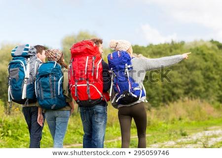 bearded traveler with backpack in woods Stock photo © dolgachov