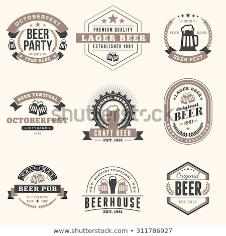 Foto stock: Color vintage beer brewery emblem