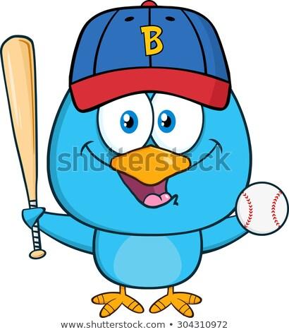 Happy Blue Bird Cartoon Character Swinging A Baseball Bat And Ball Stock photo © hittoon