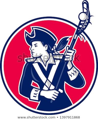 Girl Patriot Lacrosse Player Mascot Stock photo © patrimonio