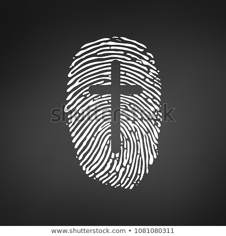 cross thumb prints or fingerprint showing christian identity vector illustration isolated on white stock photo © kyryloff