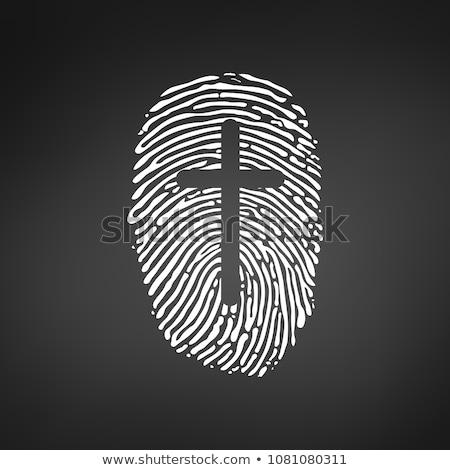 крест большой палец руки отпечатков пальцев христианской личности Сток-фото © kyryloff
