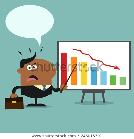 Angry African American Manager Pointing To A Decrease Chart On A Board Stock photo © hittoon