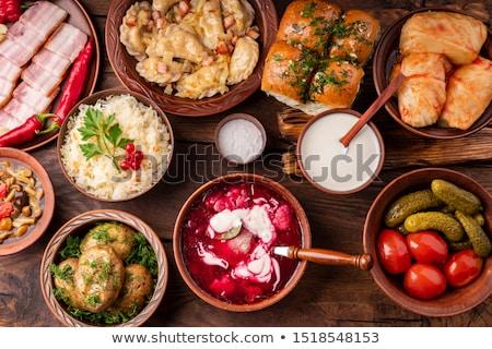 Dumplings with potatoes, Ukrainian dish Stock photo © furmanphoto