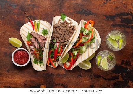 mexicano · tacos · coquetel · conjunto · carne · legumes - foto stock © karandaev