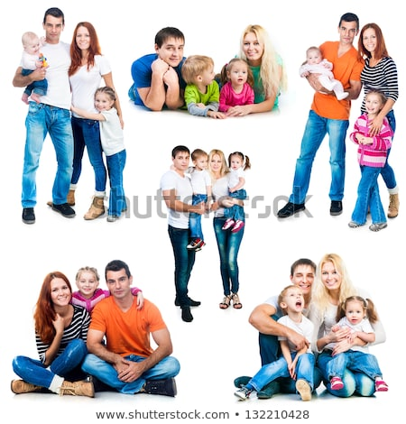 set of women and family on isolated background stock photo © cienpies