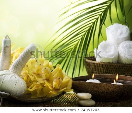 Aromatischen Massage Taschen Kräuter Holz Stock foto © boggy