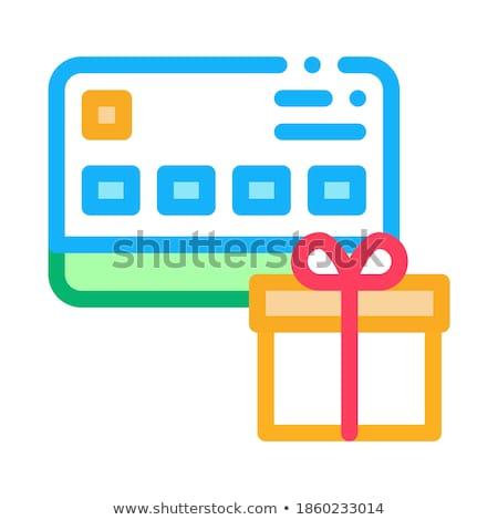 Ajándék vásárolt hitelkártya ikon vektor skicc Stock fotó © pikepicture