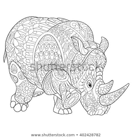 Rinocer logo-ul monocrom culoare rinocer vector Imagine de stoc © krustovin