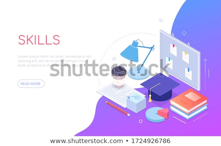 My progress - modern isometric vector web banner Stock photo © Decorwithme