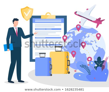 Travel Insurance Notebook and Globe with Plane Stock photo © robuart