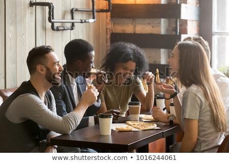Personas fin de semana amigos potable café Servicio Foto stock © robuart