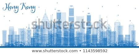 Schets Hong Kong skyline Blauw wolkenkrabbers taxi Stockfoto © ShustrikS