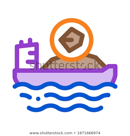 mobile boat with coal icon vector outline illustration Stock photo © pikepicture