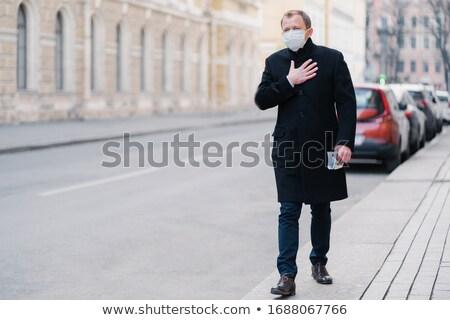 Outdoor shot man werk problemen ademhaling Stockfoto © vkstudio