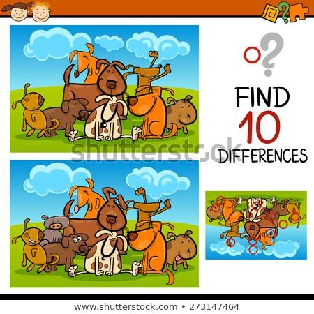 differences educational game with comic dogs Stock photo © izakowski