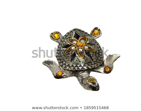 Kő szuvenír teknős fehér háttér kő Stock fotó © elly_l