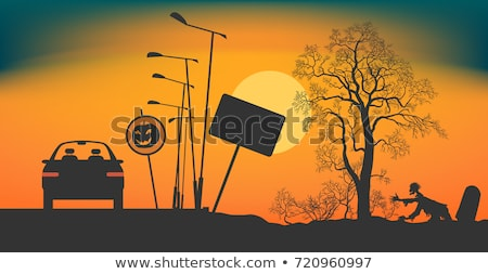 Stock photo: halloween poster with zombie background eps 8