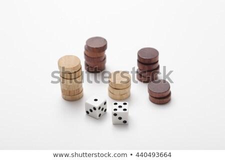 Foto stock: Peças · jogo · casa · madeira · tabela