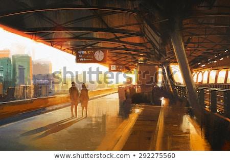 Coppia · stazione · ferroviaria · donna · uomo · benvenuto - foto d'archivio © photography33