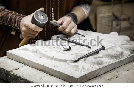 Artesão trabalhando madeira pedra trabalhar azul Foto stock © photography33