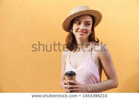 Seductive beauty in straw hat Stock photo © dash