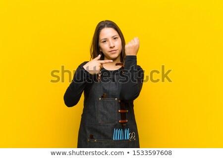 нетерпеливый женщину волос дым комнату время Сток-фото © photography33