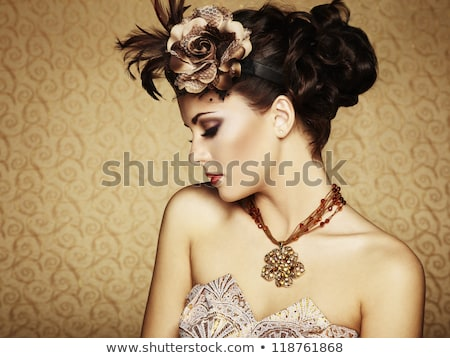 retro woman portrait on classic interior background stock photo © victoria_andreas