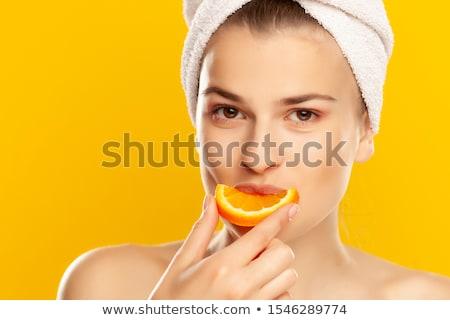 belo · senhora · laranja · toalhas · areia · branca · mulher - foto stock © dolgachov