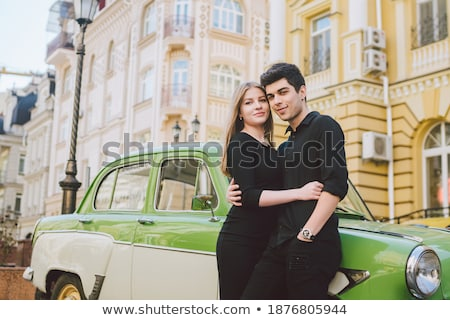 Portrait of passionate young brunette in black clothes Stock photo © acidgrey