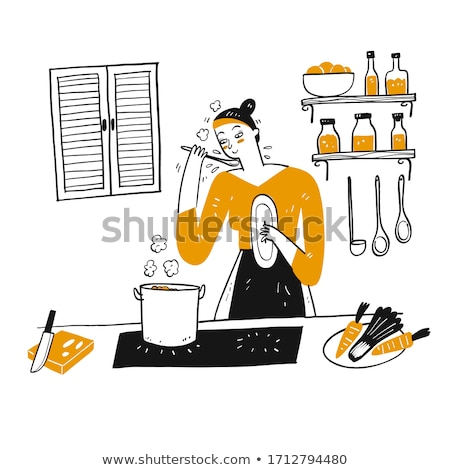 woman with kitchenware and at sign stock photo © photography33