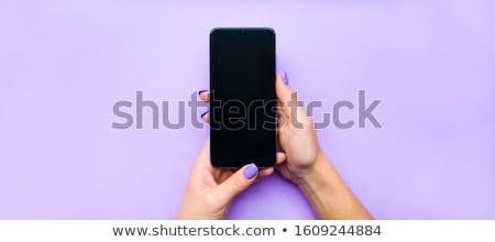 teléfono · móvil · anuncio · Foto · mujer · sonriente - foto stock © adamson