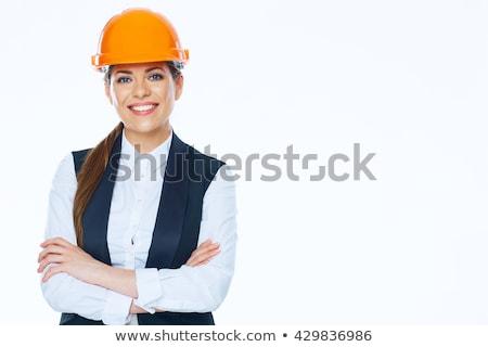 молодые Привлекательная женщина инженер изолированный белый Сток-фото © luckyraccoon