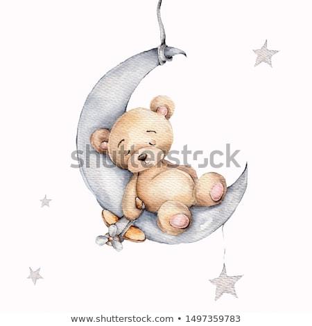 bebé · ducha · tarjeta · soñoliento · osito · de · peluche · feliz - foto stock © balasoiu