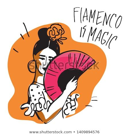 Flamenco táncos nő spanyol kéz ventillátor Stock fotó © stepstock